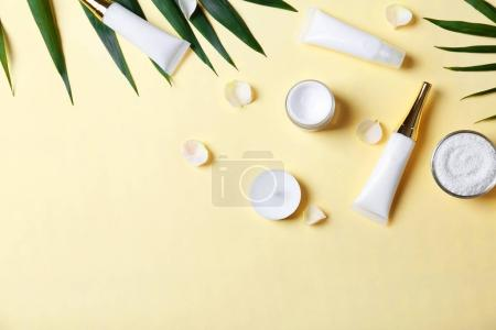 Photo for Natural cosmetics and leaves on light background - Royalty Free Image