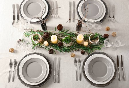 Table served with succulents