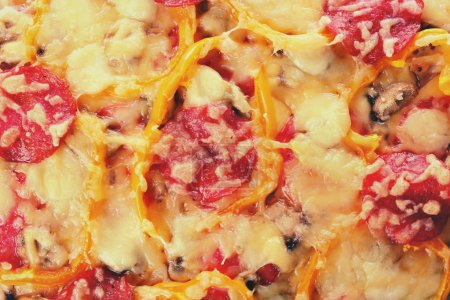 Close up view of tasty pizza