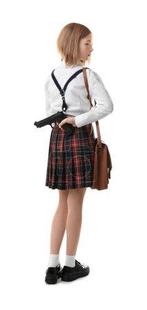 Schoolgirl hiding gun behind her back