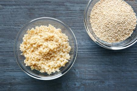 plates with sprouted quinoa grains