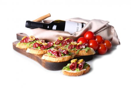 Tasty bruschettas served with wine