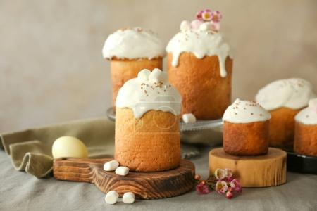 Photo for Composition with sweet Easter cakes on table - Royalty Free Image