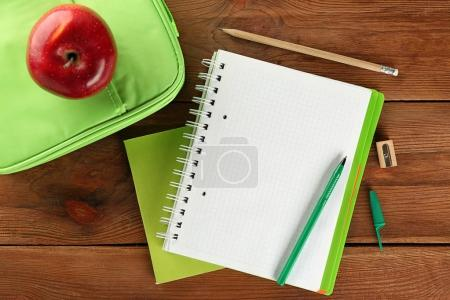 Exercise book and lunch bag