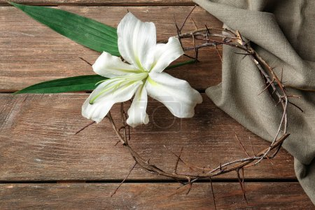 Crown of thorns and Easter white lily