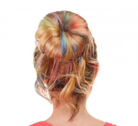 Young woman with colorful hair