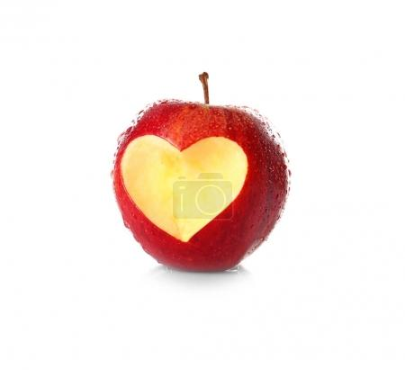 apple with heart-shaped cut out