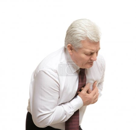 Man with chest pain suffering from heart attack on...