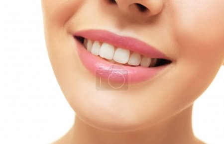 Photo for Cropped image of young woman with healthy smile on white background, closeup - Royalty Free Image