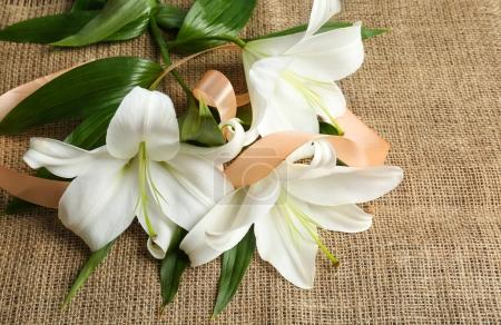 Beautiful lilies and ribbon