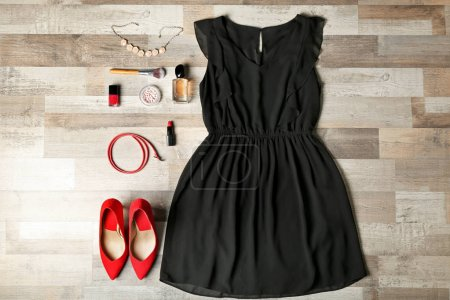 Stylish female clothes with accessories