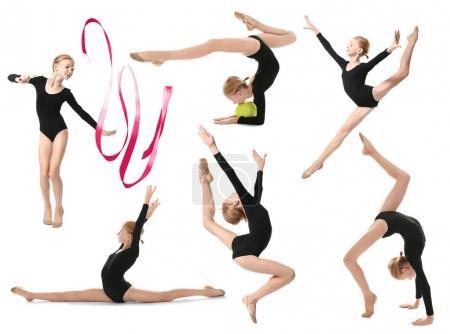 Girl doing gymnastics exercises