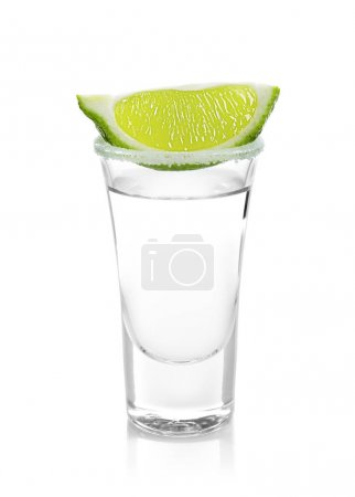 Photo for Tequila shot with juicy lime slice and salt on white background - Royalty Free Image
