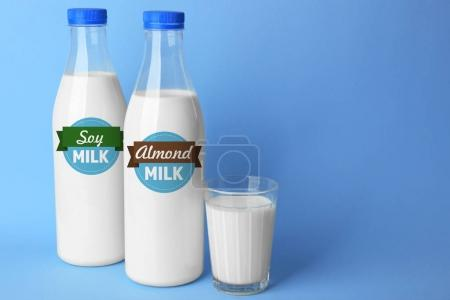 Bottles of almond and soy milk