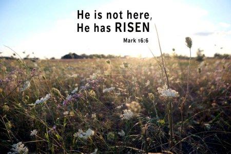Photo pour Verset religieux sur fond de paysage. Concept de célébration de Pâques - image libre de droit