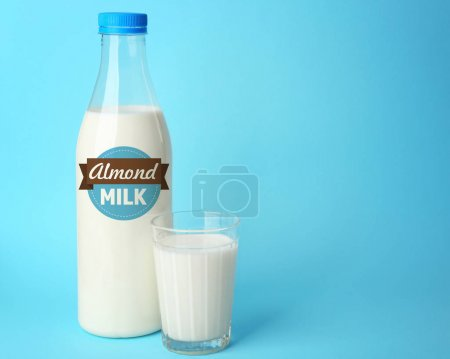 Bottle and glass of almond milk