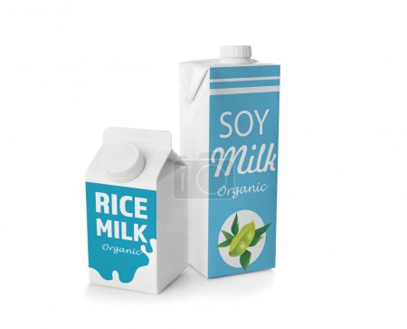 Boxes of rice and soy milk