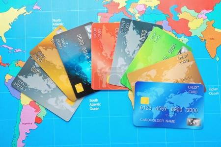 Credit cards on world map