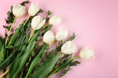 Photo for Beautiful bouquet of white tulips on pink background - Royalty Free Image