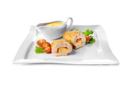 Plate with chicken sliced roll