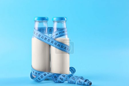 Bottles of milk with centimeter