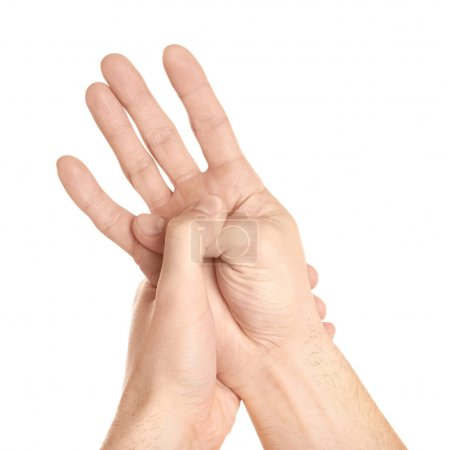 Hands of young man suffering from pain