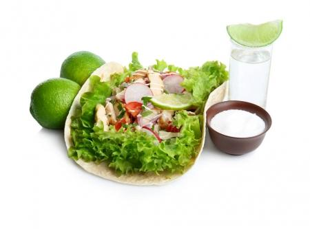 delicious tacos with tequila lime