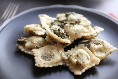 Plate with delicious ravioli