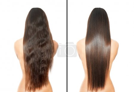 Woman before and after hair treatment
