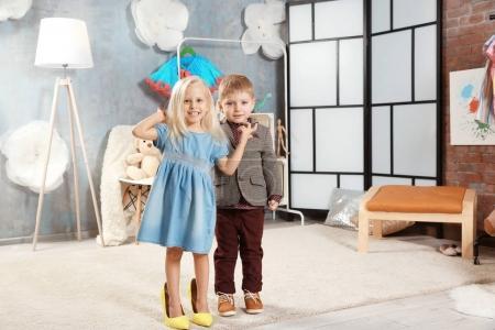 children in dressing room