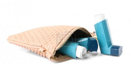 Cosmetic bag with asthma inhalers