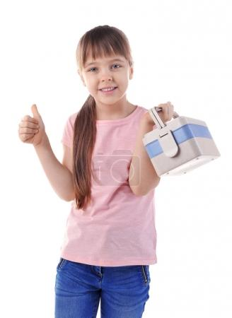 Happy schoolgirl with lunch box