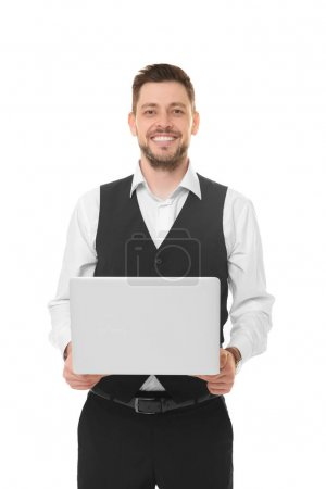 Handsome young man with laptop