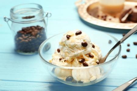 Delicious dessert with ice cream