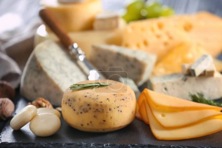 Plate with variety of cheese