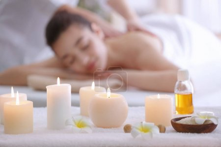 spa composition with blurred woman