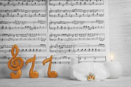 music sheets and spa supplies