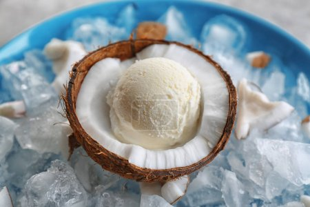 Half of coconut with ice cream