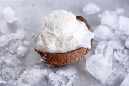 ice cream in half of coconut