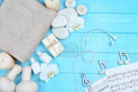 spa accessories and musical notes