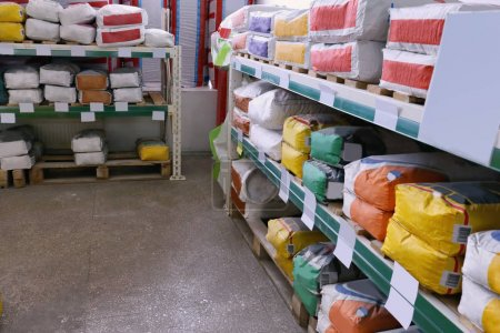 Building materials in warehouse