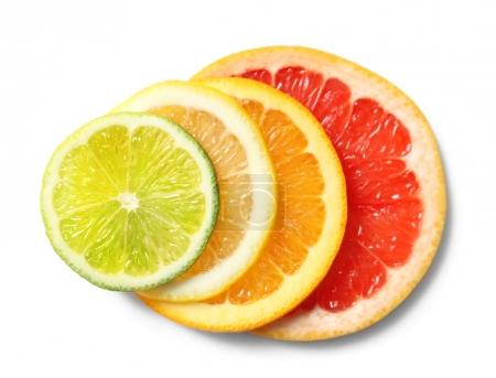 Fresh slices of citrus fruits