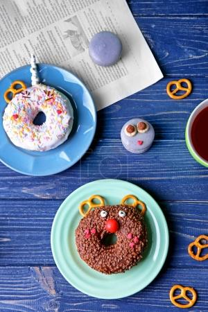 Plates with creative donuts