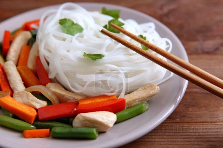 Plate with tasty rice noodle