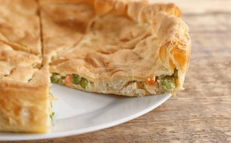 Sliced chicken pot pie