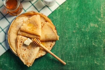 Plate with delicious pancakes
