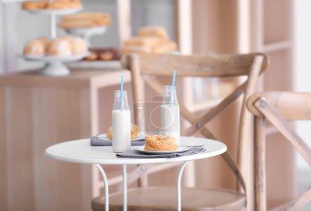 desserts with bottles of milk