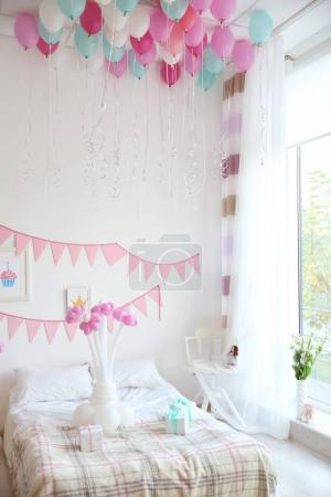 room decorated for birthday party