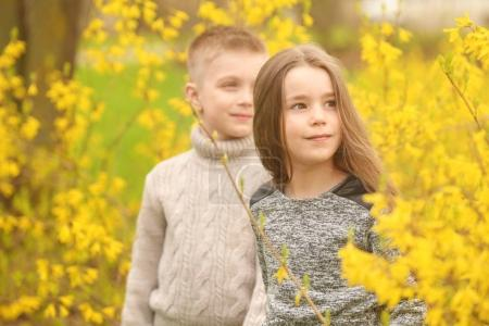 Photo for Pretty little girl and cute boy walking in spring park - Royalty Free Image