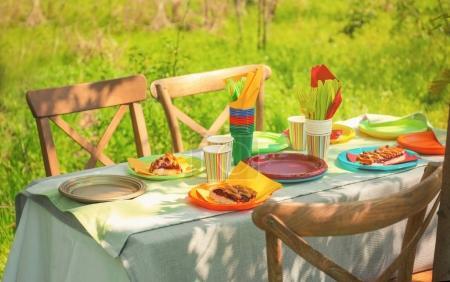 Table servi avec vaisselle jetable